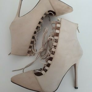 Shoes - Brand New nude suede ankle fashion heel